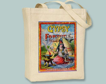 Gypsy FortuneTeller Vintage poster on Natural or Black Canvas  tote - Selection of sizes available