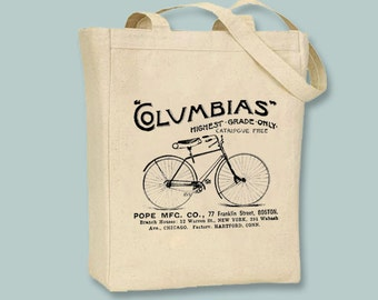 Columbias Vintage Bicycle Ad Canvas Tote - Selection of sizes available, ANY COLOR image