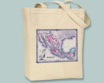 Vintage Map of Mexico Image on NATURAL or BLACK canvas tote -  Selection of sizes available