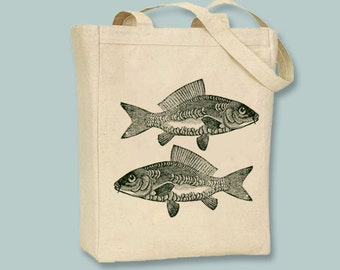 Great Vintage Carp Couple, Fun Fish illustration Canvas Tote -- Selection of  sizes available, Image in ANY COLOR
