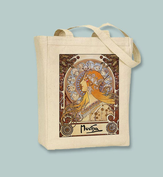 Mucha Zodiac BLACK or NATURAL Canvas Tote - Selection of Sizes Available
