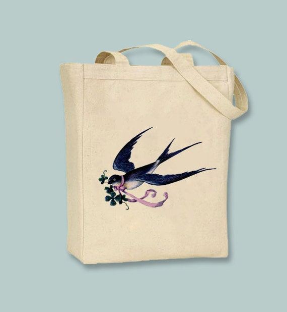 Beautiful Vintage Swallow illustration on Canvas Tote -- Selection of sizes available