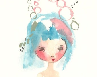 Cyber Monday Broken doll print girl blue hair abstract 5 x 7 art illustration