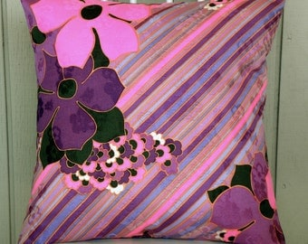 Pillow Cover - Vintage Pink and Purple Flowers and Stripes - 18 x 18