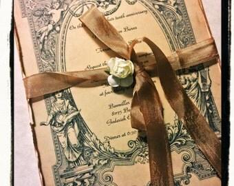 Hand Aged Wedding Vintage Invitation