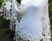 crochet flower shawl, fashion,unique gift, valentine,  winter trends,  2015, wrap flowers, autumn, wedding, Ivory, bride