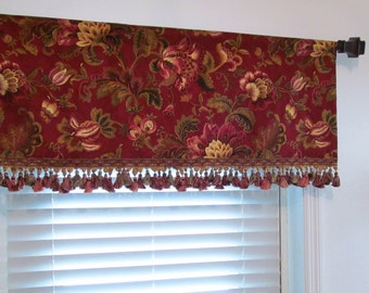 Fringed Window Valance Swavelle / Mill Creek Noblesse Ruby Valance with Trim Handmade in the USA