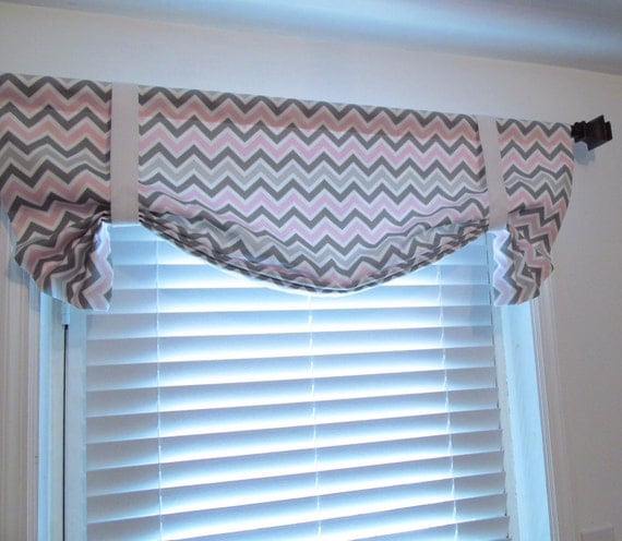Items Similar To Tie Up Valance Pink Grey Curtain Chevron