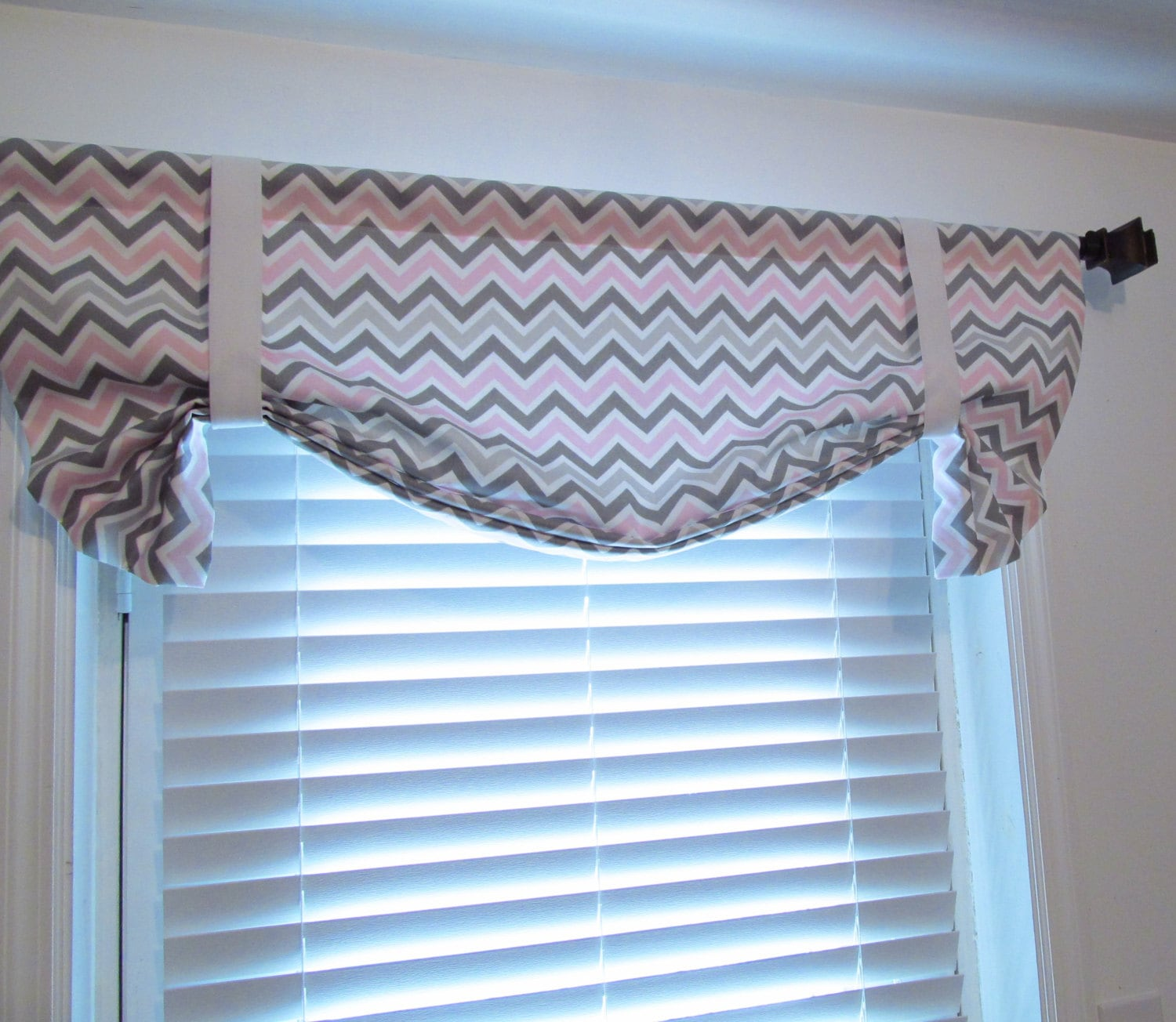 Tie Up Valance Pink Grey Curtain Chevron Gray By