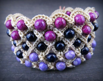 Boho Chic wide cuff bracelet, Owl Jewelry, Purple Hippie Chic Bohemian Crochet jewelry