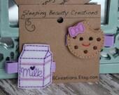 Milk and Cookies Hair Clip Set- Purple