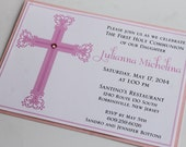 Girl Elegant Cross Baptism or Communion Invitation;Decorative Cross