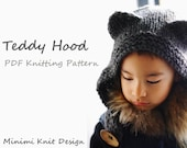 Knitting pattern PDF: Teddy Hood children hat with bear ears (sizes 6 months - 6 years)