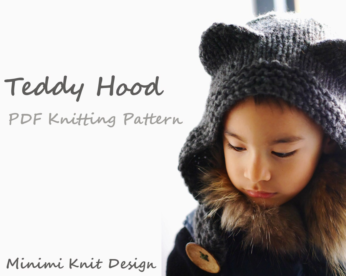 Knitting Pattern Hood With Ears : Knitting pattern PDF: Teddy Hood children hat with bear ears