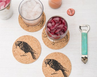 Cork Coaster Set of Four - Crow - Raven - Four Eco-Friendly Gift - Housewarming Gift - Bird - Gift for Her - Gift for Him