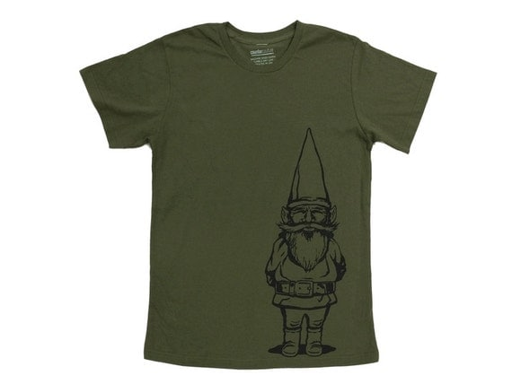 Gift for him garden gnome t shirt for men by for Gardening gifts for him