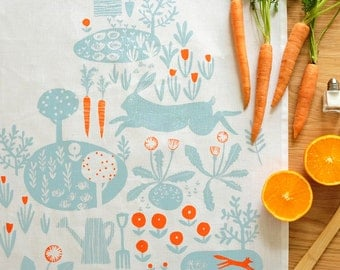 SALE Allotment Linen Tea Towel: hand screen printed in the UK