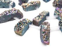 "Mystic Rainbow Quartz DRUZY Drusy Pendant Beads, spike stick shape, top drilled, 1"" to 1-1/2"" long, half strand, 9 beads, gdz0068"