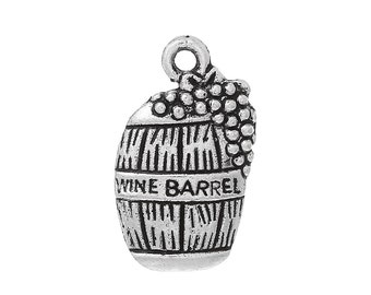 10 Antique Silver WINE BARREL with Grapes Charm Pendants  chs1523