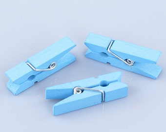 50 bulk package Small Painted Wood Clothespin Clip Findings, Bright TURQUOISE BLUE  fin0399
