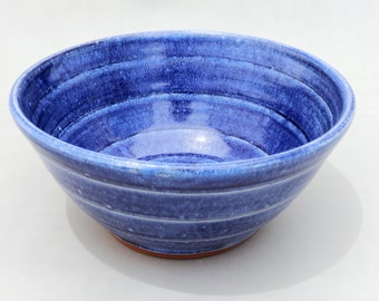 Blue Pottery Bowl - Small Blue Mixing Serving Prep Bowl
