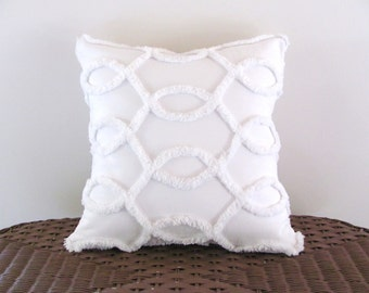 Decorative pillow cover WHITE CURVES white chenille cushion cover 14 X 14 cottage chic vintage chenille shabby style