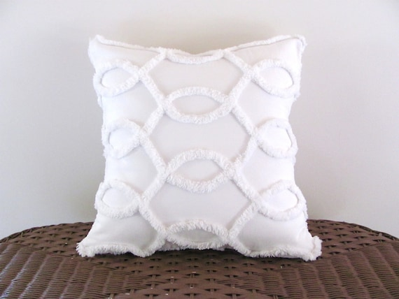 Decorative pillow cover WHITE CURVES white chenille cushion