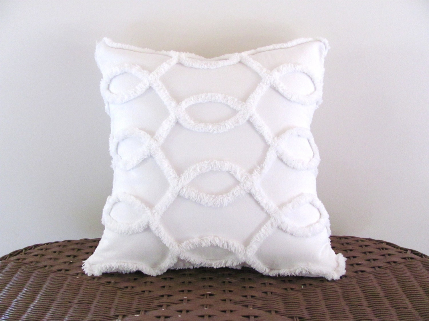 Decorative Pillows White : Decorative pillow cover WHITE CURVES white chenille cushion
