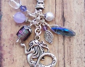 Mermaid Keychain, Purple Mermaid Bag Charm, Mermaid Key Chain, Mermaid Purse Charm, Gifts for Her, Mermaid Lover Gifts, Mermaid Zipper Pull