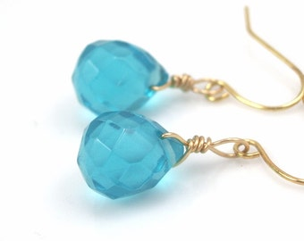 Turquoise glass earrings  jewelry  earrings-bridesmaid earrings- teardrop  earrings