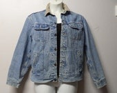 "Vintage 80's Lee Worn Denim Jacket with blanket lining  and corduroy collar 46"" chest Sz Large to XL"