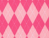 """Pink argyle style fabric, all cotton fabric,60"""" wide, by the yard, new"""