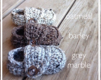 Crocheted Baby Boy Shoes, Loafer Booties, Newborn Photo Prop,  Shower Gift, 0-3 3-6 6-9 9-12 Months, grey