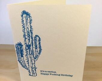 Happy Birthday Cactus Letterpress Card