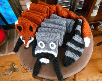 Animal Friends Scarf- MADE to ORDER- Fox or Raccoon scarf available in three sizes