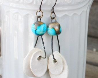 Rustic Earrings - Modern Bone China and Steel Earrings, oxidized steel, blue earrings, copper earrings, hand forged, rustic modern earrings