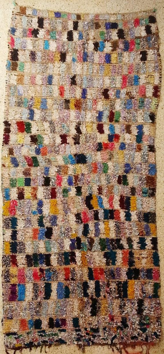 L17208 vintage boucherouite tappeto tappeti marocchini