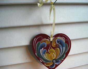 Rosemaled Heart Ornament - Hanpainted in the Telemark style -  Red, Blue, Green and Yellow