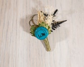 One of Kind READY TO SHIP Hops Boutonniere Alaskan Brewing Company- Blue