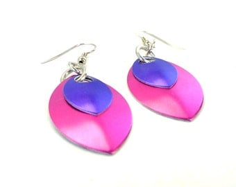 Pink And Purple Dragon Scale Earrings Inspired By Game Of Thrones
