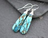 Blue Mojave Turquoise Earrings, Dangle Earrings, Gold Fill Jewelry, Drop Earrings, Long Earrings, Turquoise Earrings, Gift For Her