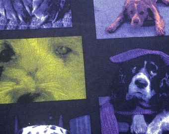 SALE - Dog in modern photo, purple, 1/2 yard, pure cotton fabric