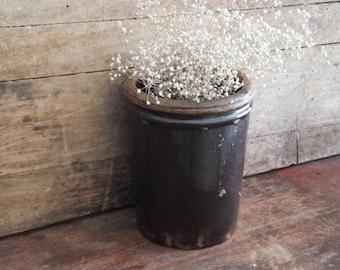 Vintage Brown Stoneware Crock Jar