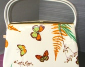 Great Summer Purse Vintage Purse 1960s 1970s Vinyl Butterflies and Ferns Mint condition