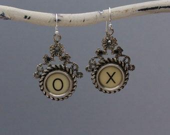 """Typewriter Key Jewelry-Typewriter Key Earrings - Vintage White Letters """"X O""""-Typewriter Key Accessories-Dangle Typewriter Key Earrings"""