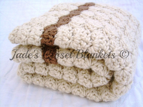 Crochet Baby Blanket, Baby Blanket, Crochet Off White Baby Blanket, Vanilla Latte with Mocha accents, crib size