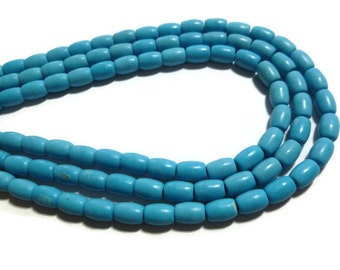 Blue Magnesite - Barrel - 6mm x 5mm - Full Strand - about 60 beads