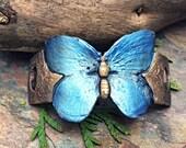 Artisan Bronze Precious Metal Clay Butterfly Bracelet Cuff