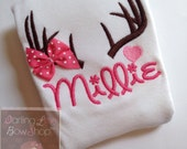 Hunting theme shirt or bodysuit for girls -- Daddy's Little Dear -- adorable antler bodysuit or shirt in hot pink with heart accent