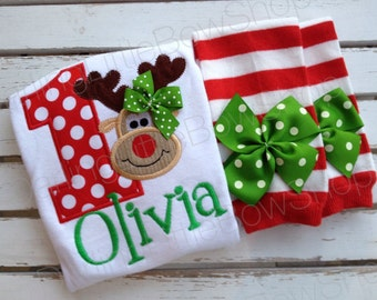 First Birthday Outfit for Baby Girls - Reindeer Birthday - bodysuit & leg warmers - red and emerald green for a December birthday